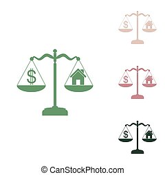 House and dollar symbol on scales. Russian green icon with small jungle green, puce and desert sand ones on white background. Illustration.