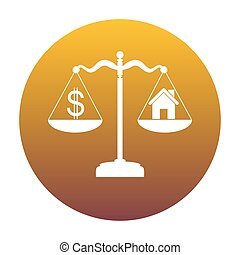 House and dollar symbol on scales. White icon in circle with gol