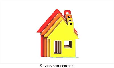 house and energy saving on white background. Isolated 3D...
