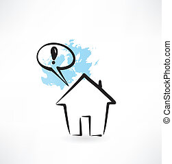 house and exclamation mark grunge icon