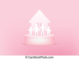 House and family paper 3d on pink background. Happy family concept.