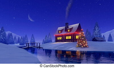 House and fir tree decorated for Christmas at night -...