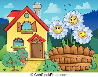 House and flowers 3 - eps10 vector illustration.
