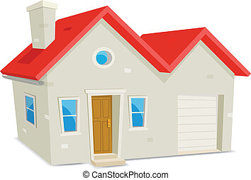 House And Garage - Illustration of a cartoon domestic house...
