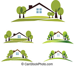 House and garden - Abstract house and trees illustration ...