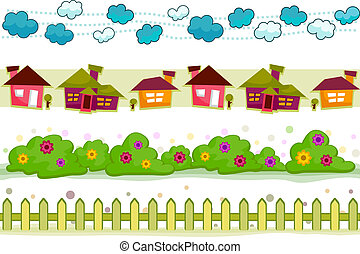House and Garden Border Set with Clipping Path