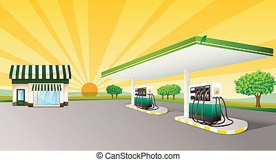 house and gas station - illustration of a house and a gas...