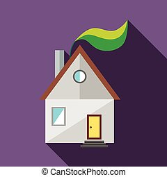 House and green leaf icon, flat style