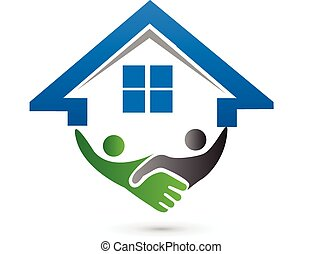 House and handshaking vector image concept of closing a ...