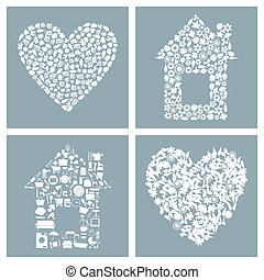 House and heart - Collection of houses and hearts. A vector...