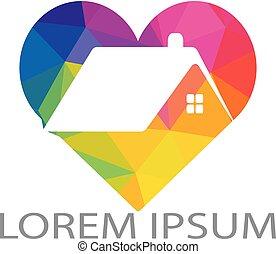 House and heart logo vector design.