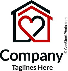 house and heart logo vector, home care logo vector, Heart ...