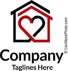 house and heart logo vector, home care logo vector, Heart ...