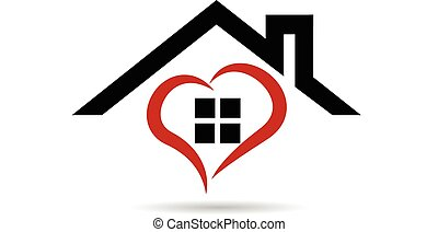House and heart vector logo - House and heart vector icon ...