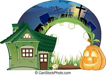 House and Jack o lantern