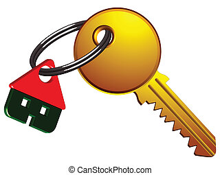 house and key on the same ring against white background,...