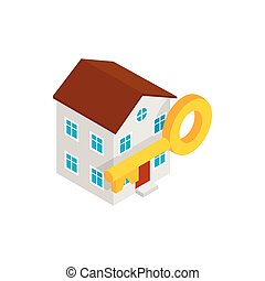 House and key icon, isometric 3d style