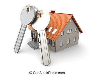 House and Keys - House and a pair of Keys. 3D rendered ...