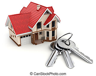 House and keys on white isolated background.