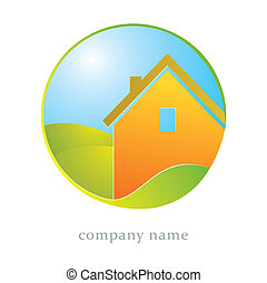 House and leaf symbol - Illustration for housing business,...