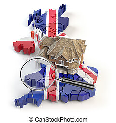 House and loupe on the map of UK Great Britain in colors of australian flag. Search a house for buying or rent concept. Real estate development in UK Great Britain. 3d illustration