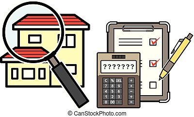 house and magnifying glass and electronic calculator and checklist