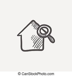 House and magnifying glass sketch icon