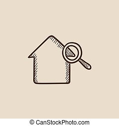 House and magnifying glass sketch icon.