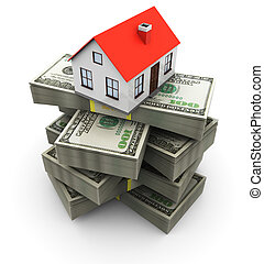 house and money - abstract 3d illustration of generic house...