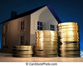House and money - Conceptual stack of golden coins and a...
