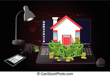 House and money on a computer heart of burgundy