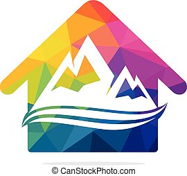 House and mountain stock logo template.