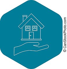House and palm icon, outline style