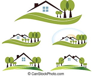 Abstract house and trees illustration collection. Beautiful garden, trees and lawn. Isolated on a white background.