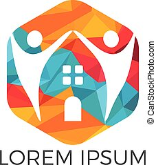 house and people logo design