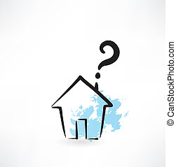 house and question mark grunge icon