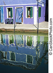 House and reflection in a canal, Burano, Italy