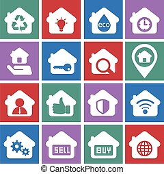 House and rental icon set, for business