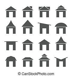 house and roof icon set