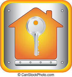 house and silver key - beautiful silver key on house...