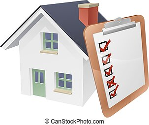 House and survey clipboard concept of a house with a giant clipboard or survey leaning on it.