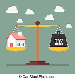 House and Tax balance on the scale