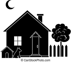House with dog kennel and tree, black silhouette. Vector