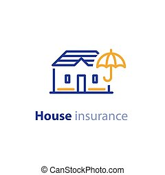 House and umbrella sign, real estate concept, property insurance icon