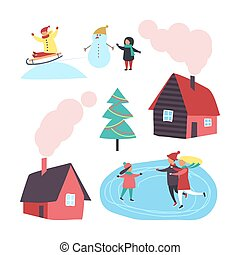 House and Winter Activities of People Set Vector - House and...