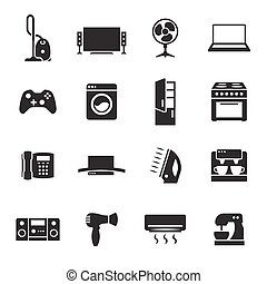 House appliance, home appliance icons set