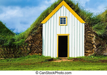 House are roofed by the turf - The recreated village - the...