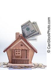 house., argent, accumulation, achat, concept, habitation