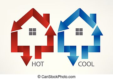 House arrows hot and cool symbol logo vector image design