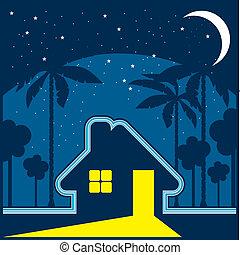 House at night - cartoon illustration